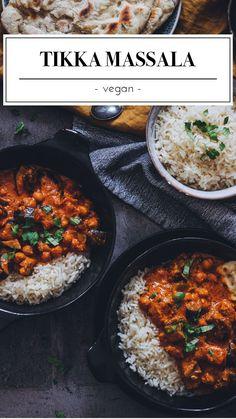 The vegan Tikka Massala is one of our absolute favorite dishes. Vegan Tikka Masala - The Unlabeled Chefs The Unalabeled Chefs - Vegane Gerichte, lecker und einfach zum Nachkochen. Clean Eating Recipes, Lunch Recipes, Easy Dinner Recipes, Soup Recipes, Vegetarian Lunch, Vegetarian Recipes, Healthy Recipes, Tajine Vegan, Vegan Tikka Masala