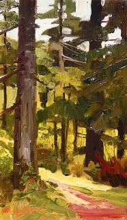 "in plein air: ""Forest Trees"" Dosewallips State Park paint out , plein air , landscape painting by Robin Weiss"