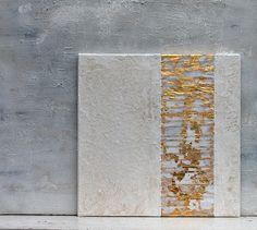 Blattgold weiss abstrakte Malerei Gold 40x40x15 cm