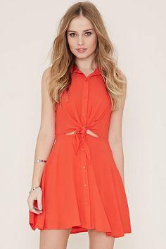 Tie-Front Shirt Dress #spring
