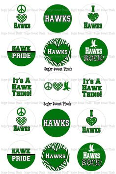 INSTANT DOWNLOAD Hawks Green WHite 1 inch circle by sugarnspicebow