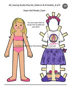 American Girl 18 inch Doll House DELUXE Sewing Studio Play Sets Furniture Pattern - Mannequin + Ballet Costume Patterns + BONUS Paper Doll _ Digital Download PDF _ Tate Museum Onlien _ etsy