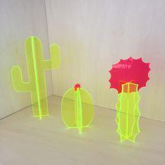 Small Florescent Acrylic Cactus Set