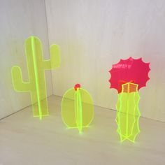 Small Florescent Acrylic Cactus Set