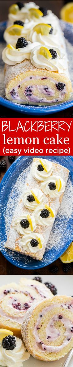 Fluffy and moist Blackberry Lemon Cake Roll (Swiss Roll) that's easier than you think! Impress everyone with this show-stopping Blackberry Lemon Cake Roll. Köstliche Desserts, Delicious Desserts, Yummy Food, Italian Desserts, Summer Desserts, Food Cakes, Cupcake Cakes, Cupcakes, Kolaci I Torte