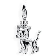 Animal Charm, Katze aus Silber mit Karabiner.