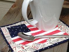 4th July Flag Map Mug Rug Pattern