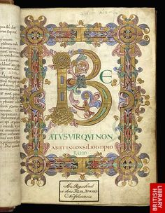 Illuminated initial 'B'(eatus) and full border at the beginning of Psalm one, decorated with painted foliage, an animal mask and animal heads.   Origin:England, S. E. (Canterbury, Christ Church)