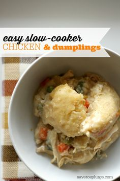 I had never had slow cooker chicken and dumplings before, but I am definitely a fan now! This recipe is ridiculously low maintenance and delicious.