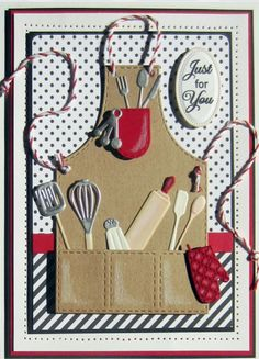 Sue Wilson Designs - Die - Necessities Collection - Apron-Set of 12 cooking dies. The apron measures approx. Tarjetas Stampin Up, Stampin Up Cards, Love Cards, Diy Cards, Scrapbook Recipe Book, Cool Aprons, Marianne Design, Mothers Day Cards, Masculine Cards
