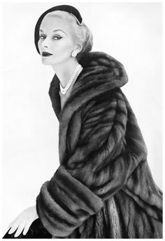 Lisa Fonssagrives wearing a mink coat made to order at Bergdorf Goodman's, photo by Clifford Coffin, Vogue US, Sept. 1951