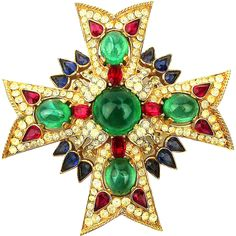 Crown Trifari ~Jewels of India~ Maltese Cross Pin Brooch Rhinestones Jewels
