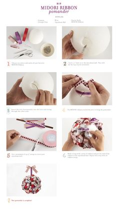 DIY ribbon pomander tutorial.
