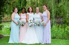 My wonderful bridesmaids! Pastel Bridesmaid dresses courtesy Davids Bridal. Hair and makeup by Lashes and Lace in Charleston, SC.  Photography by Kara Stovall Photography. Murrells Inlet, SC.  All photos on location at The Lake House at Bulow #lakehouseatbulow in Charleston, SC.  @crystalchndlr @codesssss17 @ladybox3133 @askyy