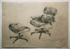 Original Drawing, Eames love (Lounge Chair and Ottoman), 2012.. €100,00, via Etsy.