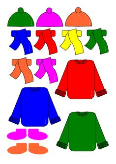 Whole set of clothes in different colours to play game with - free printable
