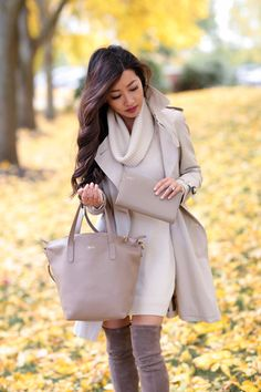 Cream taupe classic fall outfit // burberry trench + stuart weitzman boots + cuyana tote bag