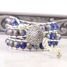 White Leather Blue Wrap Bracelet Pink Opal by AbacusBeadCreations