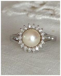 A Vintage Natural Pearl and Diamond 14kt by RomanceVintageJewels, $195.00