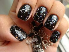 Black with rainbow confetti - love this but maybe i'd use lincoln park after dark with gold or a multicolored glitter top coat.