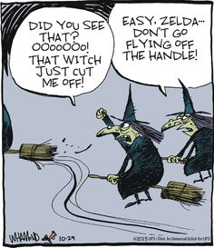 witch cut off in traffic | Reality Check (2015-10-29) via GoComics