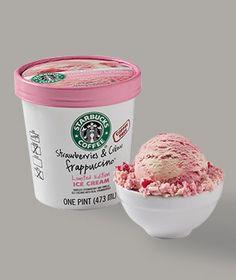 Strawberries & Crème Frappuccino® Ice Cream; Swirled strawberry and vanilla ice creams with real strawberries.