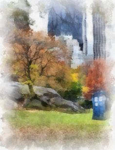 Doctor Who Tardis in Central Park in Watercolor (print- various sizes) Doctor Who Wall Art - Tardis Painting - Tardis Wall Art - Dr who Doctor Who Art, Doctor Who Tardis, Mouille, Matt Smith, Time Lords, Central Park, Watercolor Print, Draw, Space