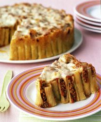 Rigatoni Pasta Pie- Mmmm yummy looking! precook pasta, fill with meaty sauce, cover with cheese, and bake!