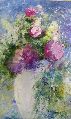 Jarrón con flores - acrilico