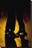Tango dancers backlit
