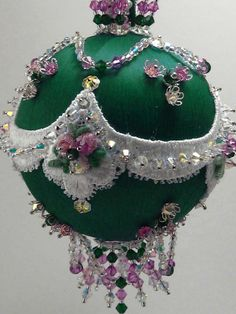 Baroque Teardrop Roses - Floral Theme - A Finished Hand Made Beaded Satin Ornament With Crystals