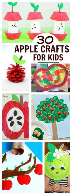 30 Apple Crafts and Activities For Kids - I Can't Wait To Try The Apple Volcano Fall Crafts For Kids, Toddler Crafts, Art For Kids, Kid Crafts, Felt Crafts, Fun Craft, Craft Activities For Kids, Apple Activities Kindergarten, Apple Crafts For Preschoolers