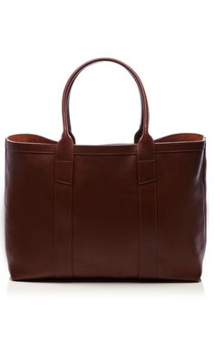Chestnut Brown Grained Leather Tote by Lotuff