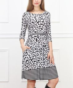 Look at this #zulilyfind! Black & White Leaves Fit & Flare Dress #zulilyfinds