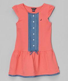 Look at this #zulilyfind! Melon Piqué Drop-Waist Dress - Infant, Toddler & Girls #zulilyfinds