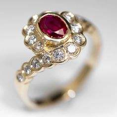 Bezel Set Diamond Halo Ruby Ring 14K Gold $3,799.00