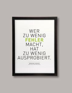 """Poster mit Spruch """"Wer zu wenig Fehler macht"""" / print with quote by BarbsHome…"""