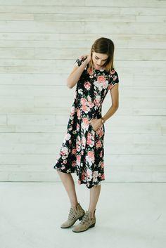 Floral Midi Dress- Navy