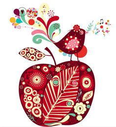 Whimsical Birds Tattoos- minus the apple Retro Illustration, Illustrations, Teacher Tattoos, Apple Tattoo, Tattoo Collection, Cute Birds, Tattoo You, Psychedelic, Cool Tattoos