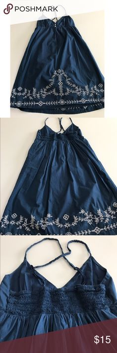 Blue Criss Cross Patterned Dress This blue criss cross patterned dress is XS and from Aeropostale. Super cute. Never been able to use. The back (as seen in pictures) is criss cross that's why the straps are as so. Beautiful color and condition. Aeropostale Dresses Midi