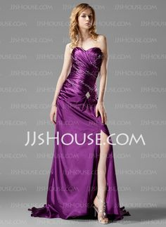 Prom Dresses - $128.99 - Sheath Sweetheart Court Train Charmeuse Prom Dresses With Ruffle Beading (018022507) http://jjshouse.com/Sheath-Sweetheart-Court-Train-Charmeuse-Prom-Dresses-With-Ruffle-Beading-018022507-g22507
