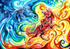 Wolves,  fire and ice, yin and yang