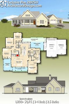 Architectural Designs Exclusive House Plan gives you beds, baths and over sq. of heated living space. - Home Decor New House Plans, Dream House Plans, House Floor Plans, Casas Country, Modern Farmhouse Plans, House Goals, Next At Home, Autocad, Future House