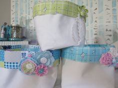 Set of 3 White Canvas/Vintage fabric storage bins with embellishments