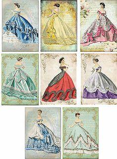 Victorian Women, Victorian Fashion, Vintage Inspired Fashion, Vintage Fashion, Illustrations Vintage, Illustration Art, Etiquette Vintage, Decoupage Vintage, Card Tags