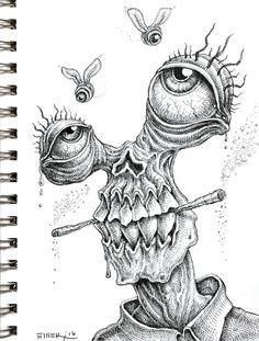 Doodle by Emek drawings trippy Weird Drawings, Trippy Drawings, Dark Art Drawings, Pencil Art Drawings, Art Drawings Sketches, Doodle Drawings, Unique Drawings, Tattoo Sketches, Tattoo Drawings