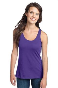 Buy the District - Juniors 60/40 Racerback Tank Style DT237 from SweatShirtStation.com, on sale now for $10.98 #purple #juniors #racerback #tank