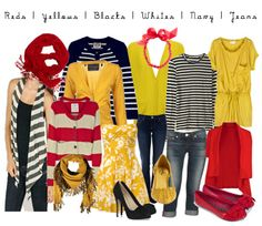 Reds, Yellows, Blacks, Whites, Navy, Jeans