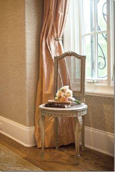 *Vintage cane chair and blush dupioni silk drapes