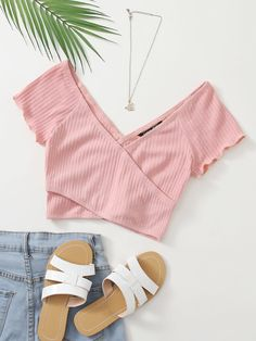 Ribbed Crisscross Surplice Crop Top   SHEIN USA Really Cute Outfits, Cute Comfy Outfits, Cute Girl Outfits, Pretty Outfits, Stylish Outfits, Girls Fashion Clothes, Tween Fashion, Teen Fashion Outfits, Cute Fashion